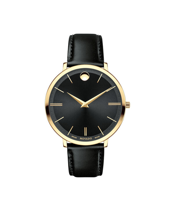 Movado | Movado Ultra Slim Women's Mid-size Yellow gold PVD-finished stainless steel watch with Black dial
