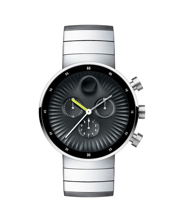 Movado | Movado Edge men's large stainless steel watch with black aluminium dial