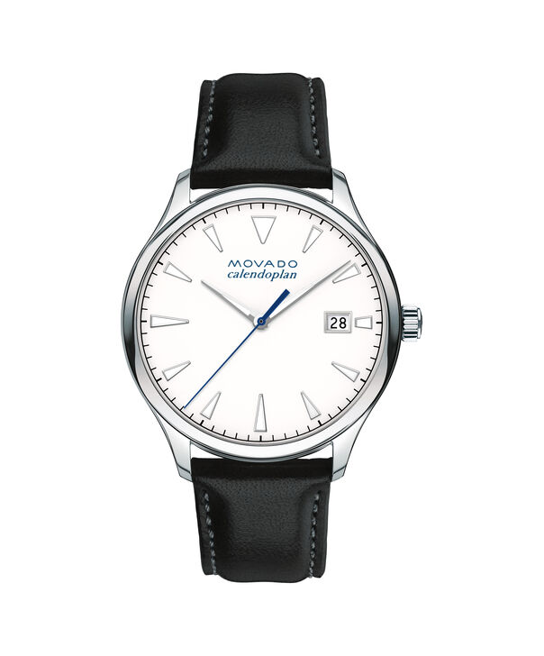 Movado | Large Men's Movado Heritage Series Calendoplan Stainless Steel watch with white dial and black leather strap