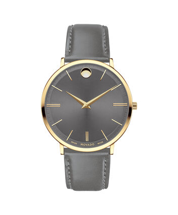 MOVADO Movado Ultra Slim0607376 – Movado Ultra Slim 40mm Leather Strap - Front view