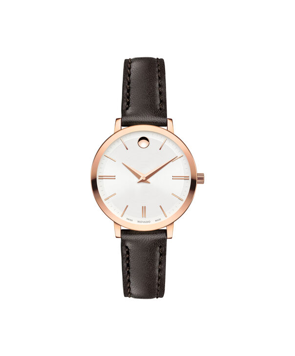Movado | Movado Ultra Slim Women's Mid-size Rose gold PVD-finished stainless steel watch with Silver dial