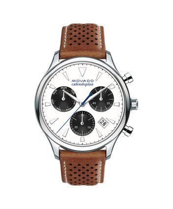 MOVADO Movado Heritage Series3650008 – Chronographe de 43 mm pour hommes, avec bracelet souple - Front view