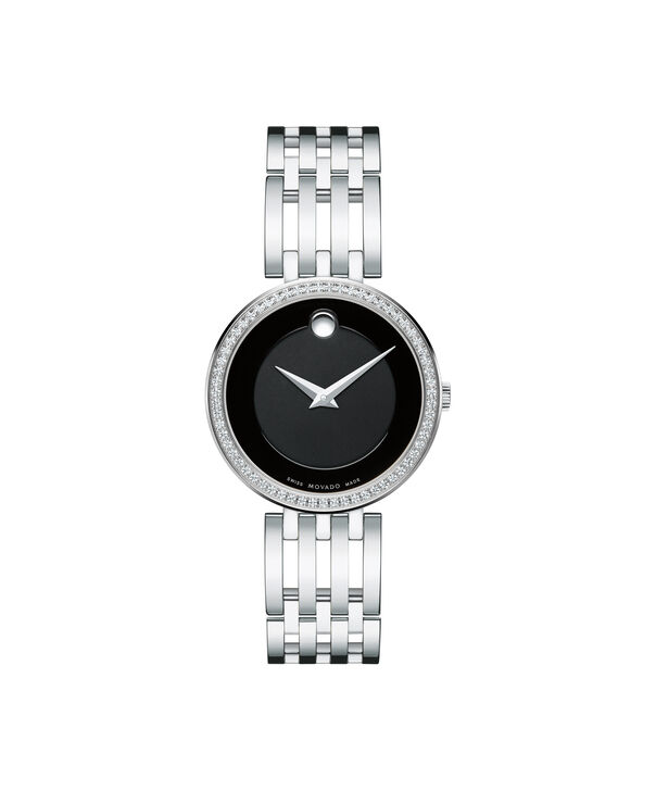 Movado | Esperanza Women's Stainless Steel Watch with Black Dial and Diamonds