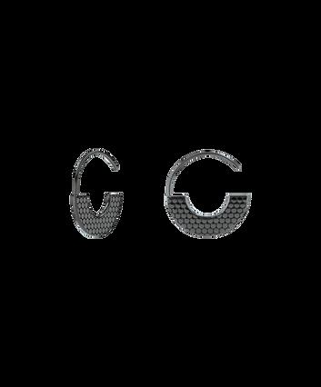 MOVADO Movado Textured Hoop Earrings1840055 – Movado Textured Hoop Black Earrings - Front view