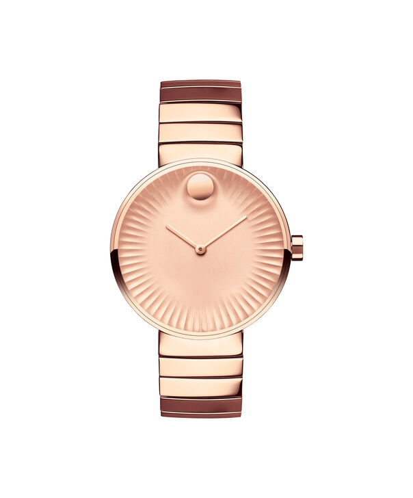 Movado   Movado Edge women's mid-size rose gold PVD-finished stainless steel watch with rose gold-toned dial