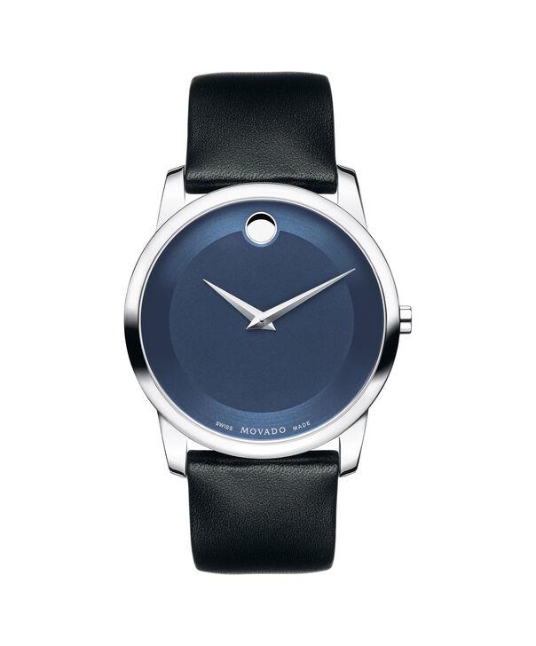 Movado | Montre en acier inoxydable de Musée hommes avec cadran bleu et bracelet noir