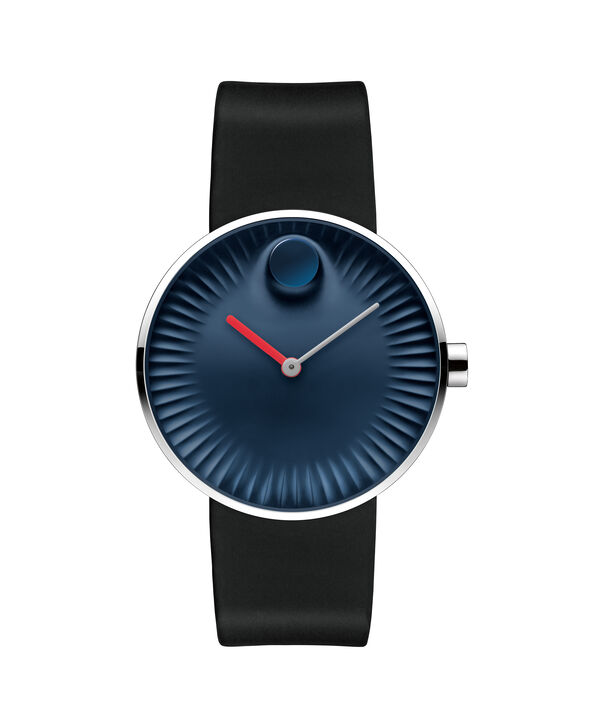 Movado | Movado Edge men's large stainless steel watch with blue dial